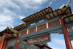 对唐人街的门在洛杉矶 免版税库存图片