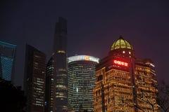 对商业中心的夜视图在上海 免版税库存照片