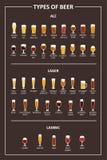 对啤酒的种类的视觉指南 啤酒的各种各样的类型在建议使用的玻璃的 也corel凹道例证向量 免版税库存照片