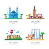 对土耳其设计元素的旅行 伊斯坦布尔蓝色清真寺,卡帕多细亚,加拉塔塔传染媒介隔绝了例证 向量例证