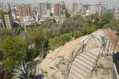 对圣地亚哥市的中央部分的看法在圣地亚哥,智利 库存图片