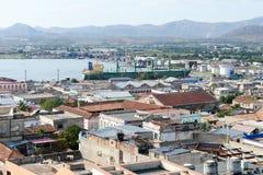 对圣地亚哥港口,古巴的看法 库存照片