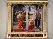 对圣母玛丽亚,圣老楞佐大殿的通告在佛罗伦萨 库存图片