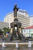 对圣洁受难者凯瑟琳和喷泉的纪念碑在a 免版税图库摄影