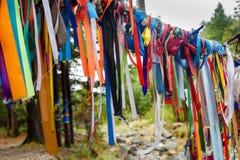 对圣洁树的色的丝带 Zalaal 在矿泉水附近的水源 Arshan 俄国 库存图片