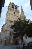 对圣玛丽亚台尔帕拉西奥In Logroño教会的入口  建筑学,历史,艺术,旅行 库存图片