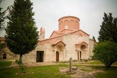 对圣玛丽教会的外视图在Apollonia,非夏尔,阿尔巴尼亚 免版税库存照片