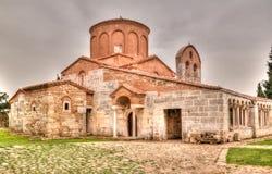 对圣玛丽教会的外视图在Apollonia,非夏尔,阿尔巴尼亚 库存照片