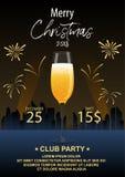 对圣诞晚会的邀请 一杯反对Th的香槟 免版税库存图片