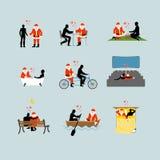 对圣诞老人汇集的爱 恋人圣诞节集合 人和圣 库存例证