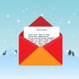 对圣诞老人的圣诞节邮件 库存例证