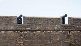 对在堡垒墙壁后的老教规 图库摄影