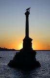 对在塞瓦斯托波尔破坏的船的纪念碑 乌克兰 库存图片