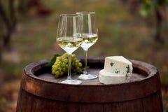 对在木桶的白葡萄酒玻璃 免版税库存照片