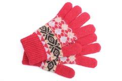 对在白色背景的红色羊毛手套 免版税库存图片