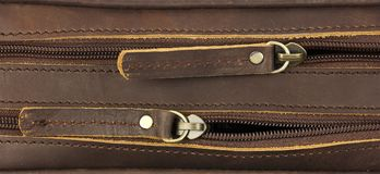 对在皮包的拉链,顶视图,一后边 免版税库存图片