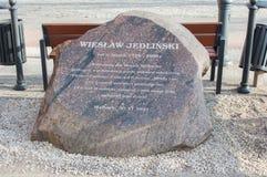 对在1928年和2008年之间居住在Wladyslaw Jedlinski正方形的纪念Wieslaw Jedlinski的纪念碑 库存照片