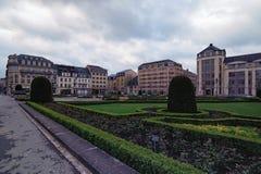 对地方Des受难者的看法 它是一个庭院正方形在卢森堡市 免版税库存照片