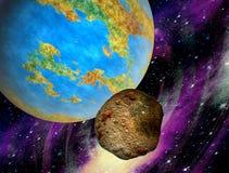 对地球的石热的小行星飞行 免版税库存图片