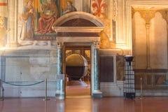 对地理地图的霍尔的入口在Palazzo Vecchio,佛罗伦萨,托斯卡纳,意大利 库存图片