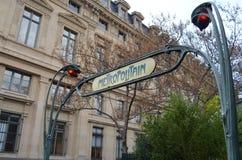 对地铁的入口在巴黎 图库摄影