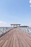 对垂直的白色的蓝色桥梁海运天空 库存图片