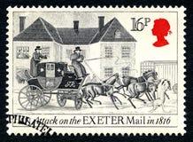 对埃克塞特邮件英国邮票的攻击 库存照片