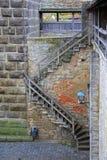 对城堡墙壁的台阶在Rothenburg 免版税图库摄影