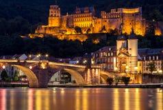 对城堡,海得尔堡,德国的看法 库存照片