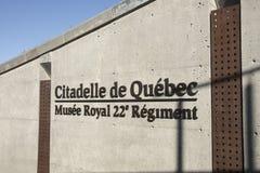 对城堡de魁北克博物馆的入口标志 免版税图库摄影
