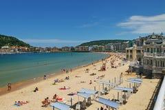 对城市圣塞瓦斯蒂安或Donostia的看法 免版税库存照片
