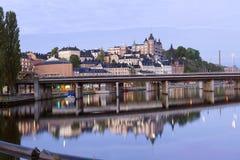 对城市的轻的早晨在斯德哥尔摩 库存图片