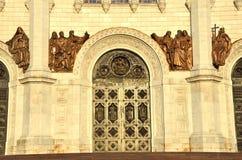对基督寺庙的入口根据落日的救主 免版税库存照片
