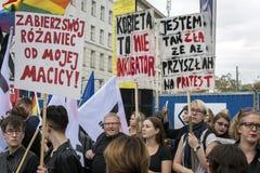 对堕胎禁令的波兰妇女罢工 免版税库存照片