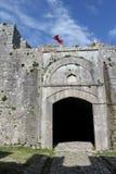 对堡垒Rozafa的门在斯库台,阿尔巴尼亚 库存图片