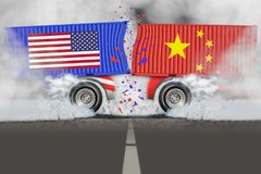 对外贸易战争的U S 对华贸易 库存图片