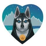 对多壳的狗的爱心脏 皇族释放例证