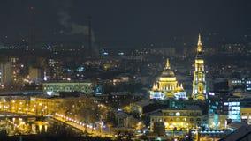 对夜timelapse的通告大教堂天,哈尔科夫,乌克兰 股票视频