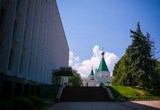 对天使迈克尔,下诺夫哥罗德,俄罗斯的大教堂的外视图 图库摄影