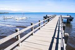 对天堂海滩的木浮船通入 免版税图库摄影