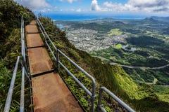 对天堂的楼梯,奥阿胡岛,夏威夷 免版税图库摄影