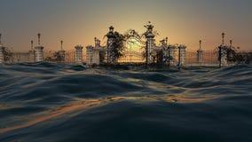 对天堂的门-有日出天空的海洋 免版税图库摄影