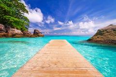 对天堂盐水湖的码头 免版税库存图片