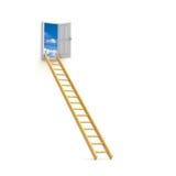 对天空的梯子企业概念 免版税库存照片