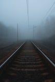 对天际的铁路在雾 库存照片