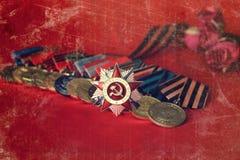 对奖牌构成的减速火箭的作用从巨大爱国战争 库存照片