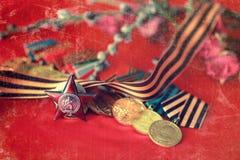 对奖牌构成的减速火箭的作用从巨大爱国战争 免版税库存图片