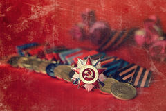 对奖牌构成的减速火箭的作用从巨大爱国战争 库存图片