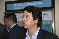 对奥林匹克的火车站由里约的州长开始 库存照片