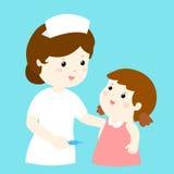 对女孩的兴高采烈的护士谈话 库存图片